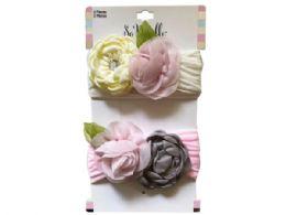 54 Units of Multi-Color 2 Piece Rose Style Headbands - Headbands