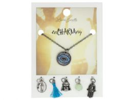 72 Wholesale Silver Evil Eye Charm Necklace with Multiple Charms