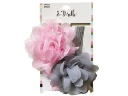 108 Units of Pink and Grey 2 Piece Headband in Chiffon/Tulle Flower - Headbands