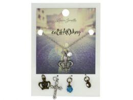 72 Wholesale Fleur De Lis Charm Necklace with Multiple Charms