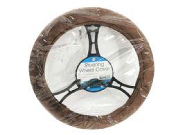 6 Units of Brown Fleece Steering Wheel Cover - Auto Steering Wheel Covers