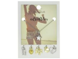 72 Wholesale Silver Star Charm Necklace with Multiple Charms