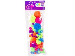 72 Units of 100 Pack Neon Craft Poms - Pom Poms and Feathers