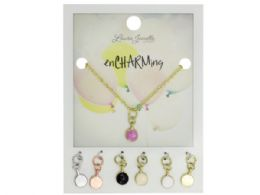 72 Wholesale Pink Coin Charm Necklace with Multiple Charms
