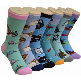 360 Units of Women's Kitten Print Crew Socks - Womens Crew Sock
