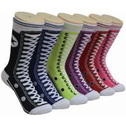 360 Units of Women's Shoe Lace Print Crew Socks - Womens Crew Sock