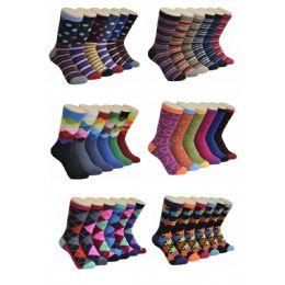 360 Units of Ladies Mix Print Crew Socks Size 9-11 - Womens Crew Sock