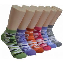 480 Units of Ladies Lowcut Socks Camo Print - Womens Crew Sock