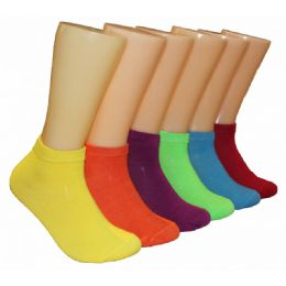 480 Units of Ladies Lowcut Socks Assorted Solid Color - Womens Crew Sock