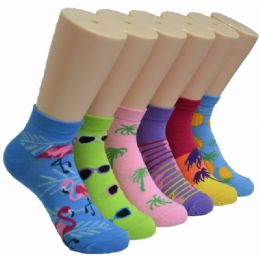 480 Units of Ladies Lowcut Socks Assorted Summer Print - Womens Crew Sock