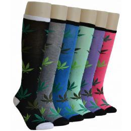 240 Bulk Ladies Leaf Printed Knee High