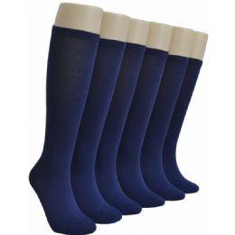 240 Bulk Ladies Navy Blue Solid Knee High