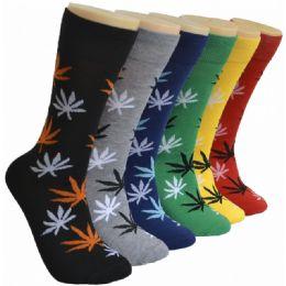 288 Units of Men's Novelty Socks Leaf Print - Mens Dress Sock