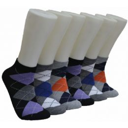 480 Units of Men's Argyle Printed Low Cut Ankle Socks - Mens Ankle Sock