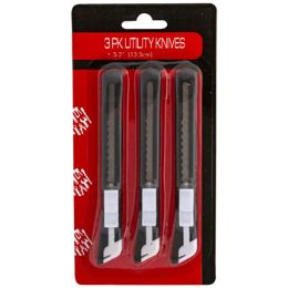 36 Units of Utility Knife 3pk W/snap Off Blade Hardware Blister Card - Sporting and Outdoors