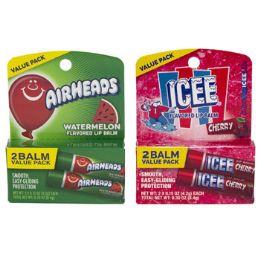 24 Bulk Lip Balm 2pk Licensed 12-Icee Cherry 12 - Airheads