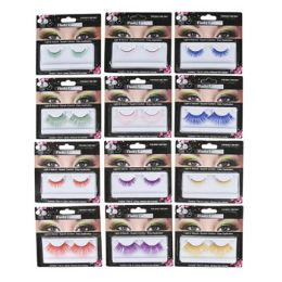 72 Bulk Eyelashes False 12asst Novelty Solid Neon Clrs 2 Sizes/6colors