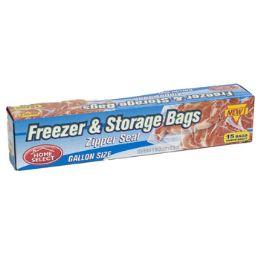 24 Units of Storage Bags 15ct Gallon Freezer - Garbage & Storage Bags