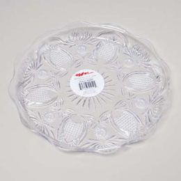 48 Units of Clear Round Tray 13.5 Inch Cut - Serving Trays