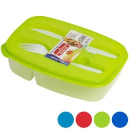 36 Units of Lunch Box 2 Compartment W/fork & Knife In Pdq 5 Asst - Lunch Bags & Accessories