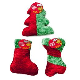 36 Units of Dog Toy Christmas Chenille With Squeaker 3 Shapes Red/green in - Pet Toys