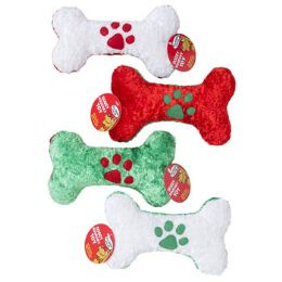 36 Units of Dog Toy Christmas Chenille Bone W/paw Print Icon 8in In Pdq - Pet Toys