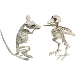 8 Wholesale Skeleton Animal Jumbo LighT-Up Eyes 11in Crow/rat Hlwn ht