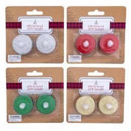 48 Units of Tealight Led 2pk Glitter 4ast Traditional Colors Xmas Blister - Christmas