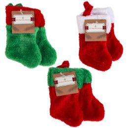 48 Units of Stocking Mini 2pk 7in Plush 3ast Colors/12pc Mdsgstrip/htjhook - Christmas