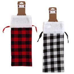 36 Units of Bottle Bag Fabric W/plush Cuff 2ast Check Print 13x6 Bottle Tcd - Christmas