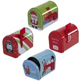 24 Units of Mail Box Shaped Tin 4ast Christmas Designs 5x3x3.74 - Christmas