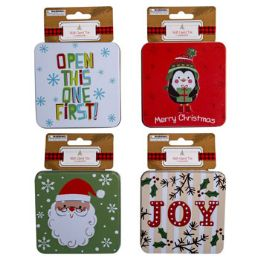 24 Units of Gift Card Tin Christmas 3.95in 4ast Embossed 12pc Mdsg Strip - Christmas Cards