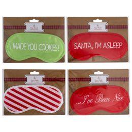 48 Units of Eye Mask Christmas Designs Satin 4ast Prints Pb/tcd - Christmas