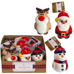 12 Units of Squishy Christmas Character 3ast Snowmn/santa/reindr In 12pc Pdq - Christmas