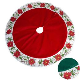 18 Units of Tree Skirt Poinsettia Felt 3ft W/glitter 2ast Clrs Xmas Header - Christmas