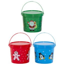 48 Units of Candy Bucket W/lid Plastic 3ast Christmas Prints/colors - Christmas