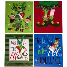 48 Units of Gift Bag Elf Theme Large 6ast - Gift Bags Assorted