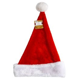 24 Units of Santa Hat Deluxe Plush Red W/ White Cuff 17in Xmas Ht/J-Hook - Christmas