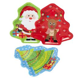 48 Units of Tray Serving Santa/deer/tree Tree Shaped 12in Pp/upc Label - Serving Trays