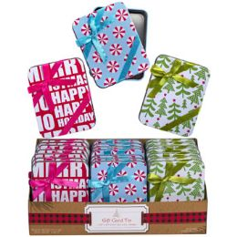 48 Units of Gift Tin W/bow On Lid 3ast Xmas Prints 3.5 X 4.5 X 0.6in Square - Christmas