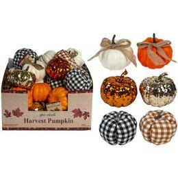 36 Wholesale Pumpkin Harvest 6ast 3.5in 2ea Glitter/plain/check In Pdq