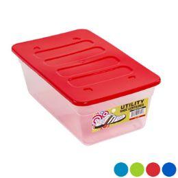 48 Bulk Shoe Box 13 X 7.75 X 4.5 6 Qt Clear Bottom/4 Color Lids In Pdq
