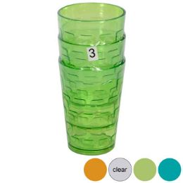 48 Units of Tumblers GlasS-Look 4 Colors 3pk 8 Oz In A White Pdq - Plastic Drinkware