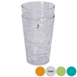 48 Units of Tumblers GlasS-Look 4 Colors 2pk 18 Oz In A White Pdq - Plastic Drinkware