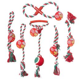 60 Units of Dog Toy Christmas Rope Chews 6 Asst Styles 3 Colors In Pdq - Pet Toys