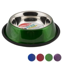 24 Wholesale Pet Bowl Stainless Steel 32 Oz 3.75 Cups AntI-Skid 4 Colors