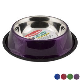 12 Wholesale Pet Bowl Stainless Steel 64 Oz 8 Cups AntI-Skid 4 Colors 275g