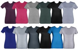 144 Units of Womens Cotton Short Sleeve T Shirts Mix Colors Size Medium - Womens Charity Clothing for The Homeless