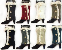 12 Units of Wholesale Knitted Long Boot Topper Crochet Top Leg Warmer - Arm & Leg Warmers