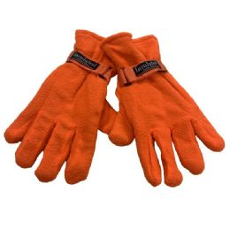 12 Units of Wholesale Man Winter Fleece Glove Orange color - Winter Gloves